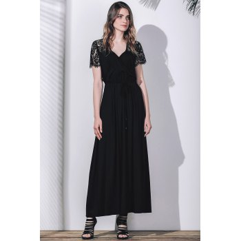 Sexy Plunging Neck Short Sleeve Lace Spliced Solid Color Women's Maxi Dress - BLACK 2XL