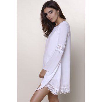 Stylish Women's Jewel Neck Long Sleeve Crochet Dress - XL XL