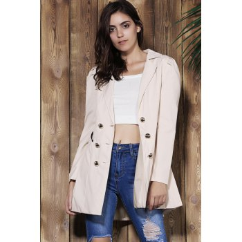 Elegant Double Breasted Turn-Down Collar Long Sleeve Trench Coat For Women - APRICOT S