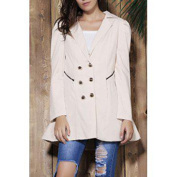 Elegant Double Breasted Turn-Down Collar Long Sleeve Trench Coat For Women