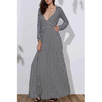 Stylish Bird Print Long Sleeve Plunging Neck Women's Dress