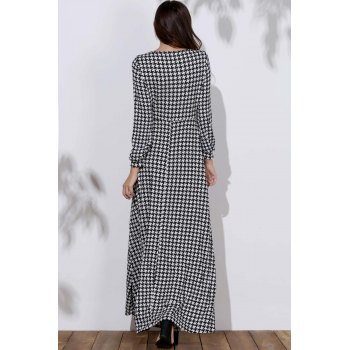 Stylish Bird Print Long Sleeve Plunging Neck Women's Dress - CHECKED XL