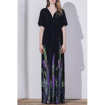 Casual Plunge Neck Short Sleeve Printed Backless Maxi Dress For Women