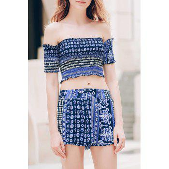 Sexy Off-The-Shoulder Short Sleeve Printed Crop Top + Elastic Waist Shorts Women's Twinset