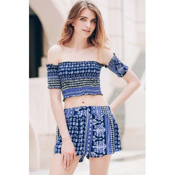 Sexy Off-The-Shoulder Short Sleeve Printed Crop Top + Elastic Waist Shorts Women's Twinset - BLUE S