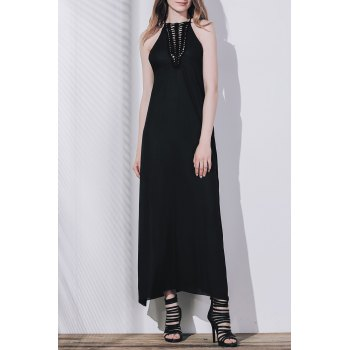 Women's Openwork Slit Maxi Dress