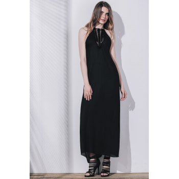 Women's Openwork Slit Maxi Dress - BLACK S