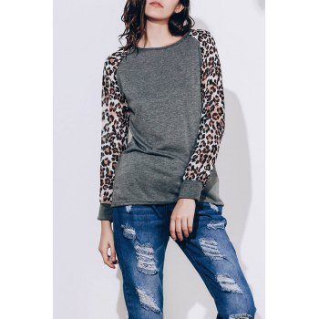 Trendy Leopard Print Long Sleeve Baseball T-Shirt For Women