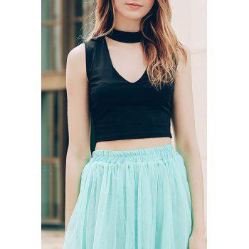 Trendy Stand-Up Collar Sleeveless Solid Colour Hollow Out Women's Crop Top
