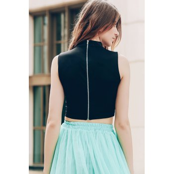 Trendy Stand-Up Collar Sleeveless Solid Colour Hollow Out Women's Crop Top - BLACK S