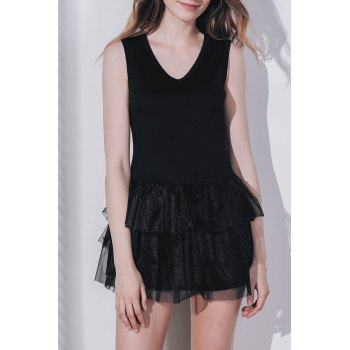Trandy Sleeveless Black V Neck A-Line Dress