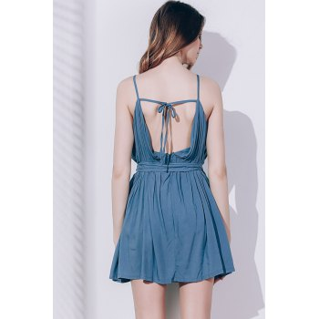 Spaghetti Sexy Strap manches Romper Solid Self Couleur Cravate Ceinture Loose Women - Pois Verts XL