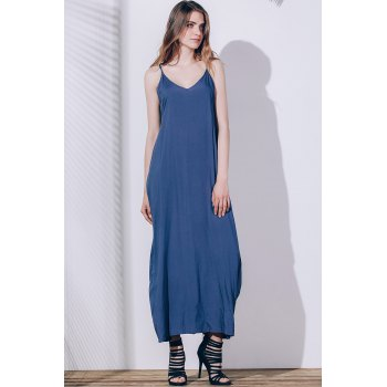 Spaghetti Strap Sleeveless Solid Color Loose Fitting Dress