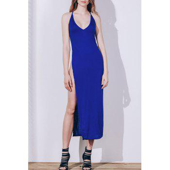 Spaghetti Strap Red High Slit Dress For Women