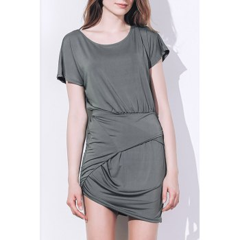 Sexy Short Sleeve Scoop Neck Asymmetrical Women's Dress