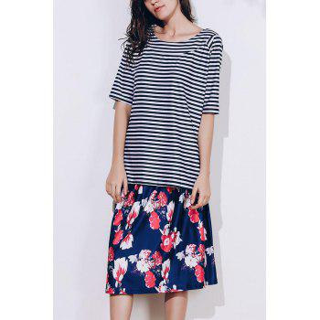 Stylish Scoop Neck Striped T-Shirt and Floral Printed Skirt Twinset For Women