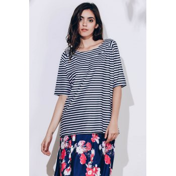 Stylish Scoop Neck Striped T-Shirt and Floral Printed Skirt Twinset For Women - COLORMIX L
