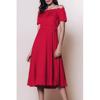 Vintage Women's Off The Shoulder Short Sleeve Solid Color Flare Dress