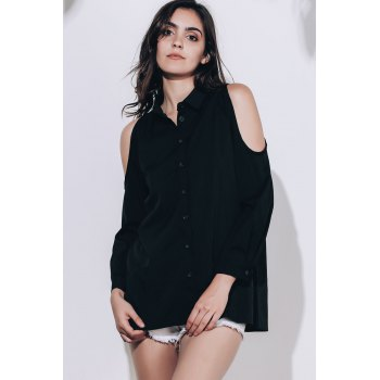 Chic Black Polo Collar Long Sleeve Blouse For Women - BLACK XL