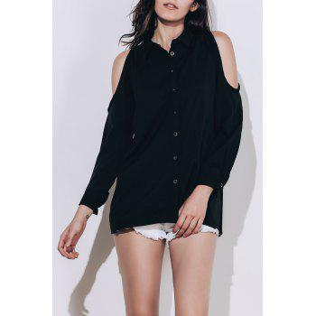 Chic Black Polo Collar Long Sleeve Blouse For Women