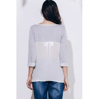 Endearing 3/4 Sleeve Back Bowknot Chiffon Spliced Pullover Sweatshirt For Women - GRAY GRAY