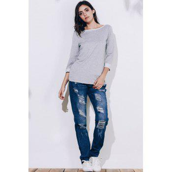 Endearing 3/4 Sleeve Back Bowknot Chiffon Spliced Pullover Sweatshirt For Women - GRAY L