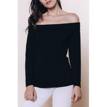 Sexy Black Off The Shoulder Long Sleeve T-Shirt For Women