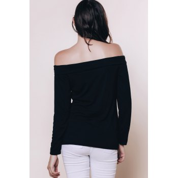 Sexy Black Off The Shoulder Long Sleeve T-Shirt For Women - BLACK XL