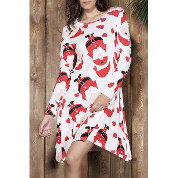 Attractive Santa Printed Jewel Neck Long Sleeve Dress For Women - RED XL