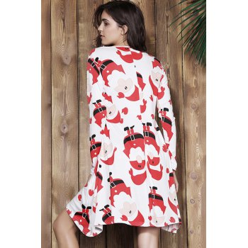 Attractive Santa Printed Jewel Neck Long Sleeve Dress For Women - RED RED