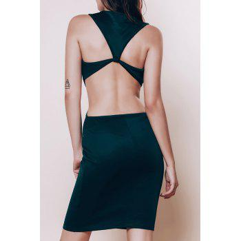 Alluring Scoop Neck Sleeveless Cut Out Solid Color Women's Dress