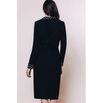 OL Style Long Sleeve Turn-Down Collar Polka Dot Spliced Women's Pencil Dress - BLACK S