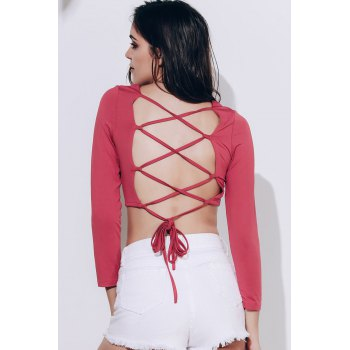 Strappy Backless Crop Top - CLARET S