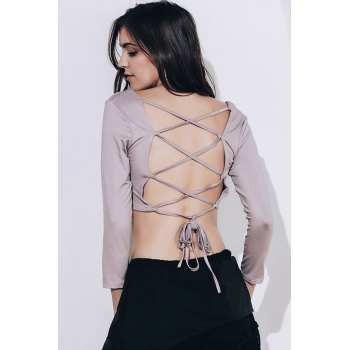 Strappy Backless Crop Top - KHAKI S