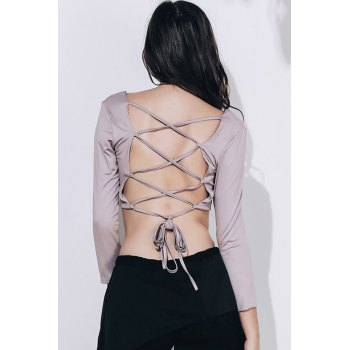 Strappy Backless Crop Top - KHAKI M