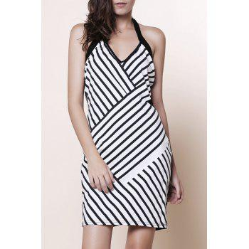 Alluring Halter Sleeveless Bodycon Striped Women Dress