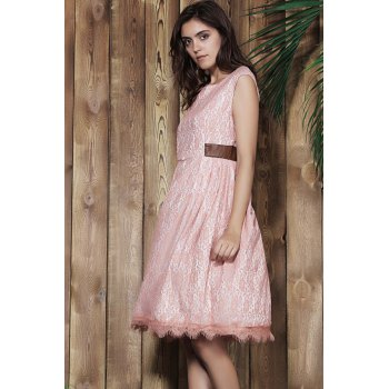 Vintage Style Sleeveless Scoop Neck Pink Lace Women's Ball Gown Dress - PINK XL