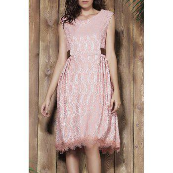 Vintage Style Sleeveless Scoop Neck Pink Lace Women's Ball Gown Dress