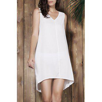 Simple Sleeveless V-Neck Loose-Fitting Women's White Dress