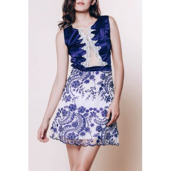 Sexy Scoop Neck Sleeveless Flower Pattern See-Through Women's Dress