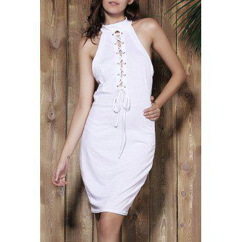 Sexy White Halter Self-Tie Hollow Sleeveless Dress For Women