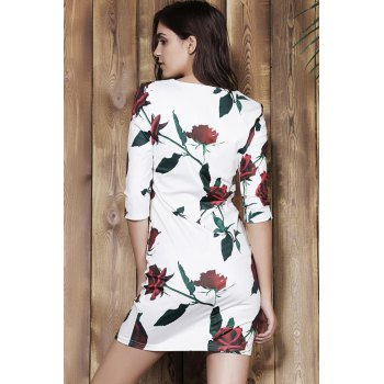 Stylish Plunging Neck 3/4 Sleeve Bodycon Floral Print Women's Dress - WHITE S