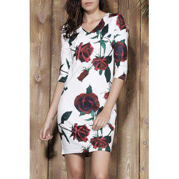 Stylish Plunging Neck 3/4 Sleeve Bodycon Floral Print Women's Dress