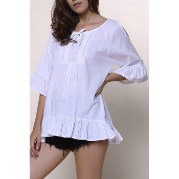 Sweet Solid Color Scoop Neck Ruffles 3/4 Sleeve Blouse For Women - WHITE WHITE