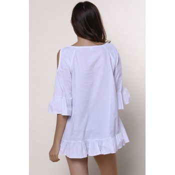 Sweet Solid Color Scoop Neck Ruffles 3/4 Sleeve Blouse For Women - WHITE XL