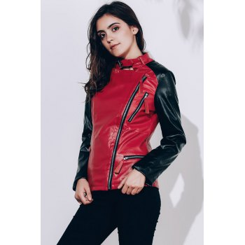 Women's Turn-Down Collar Splicing Pure Color Long Sleeve PU Jacket - WINE RED S