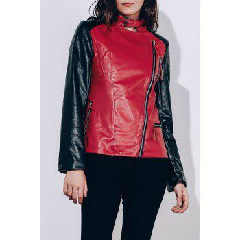 Women's Turn-Down Collar Splicing Pure Color Long Sleeve PU Jacket