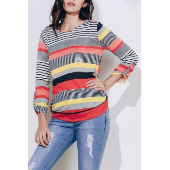 Casual Scoop Neck 3/4 Sleeve Striped Loose-Fitting Women's T-Shirt