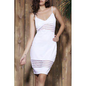 Stylish Women's Spaghetti Strap Striped Bodycon Dress