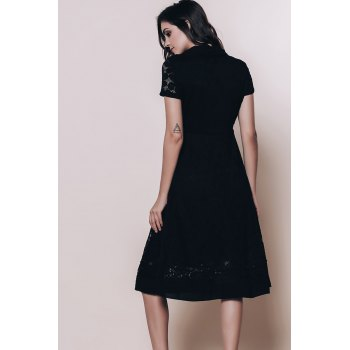 Vintage Style Short Sleeve V-Neck Lace Women's Black Dress - 2XL 2XL